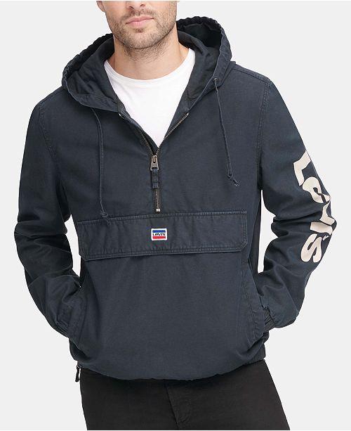 Levi's Men's Garment-Dyed 1/2-Zip Hooded Twill Jacket