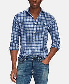 Polo Ralph Lauren Men's Slim-Fit Linen Plaid Shirt