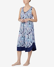 Ellen Tracy Printed Crisscross Keyhole Midi-Nightgown