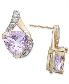 Pink Amethyst (3-1/5 ct. t.w.) & Diamond (1/8 ct. t.w.) Drop Earrings in 14k Gold