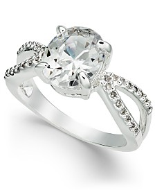 Charter Club Silver-Tone Crystal Open Ring, Created for Macy's