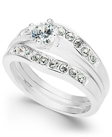 Charter Club Silver-Tone Crystal Channel Ring, Created for Macy's