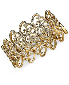 INC Silver-Tone Pavé Openwork Stretch Bracelet, Created for Macy's