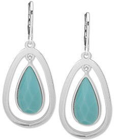 Anne Klein Silver-Tone Stone Orbital Drop Earrings