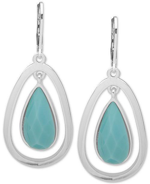 Anne Klein Silver-Tone Stone Orbital Drop Earrings