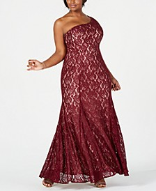 Plus Size One-Shoulder Glitter Lace Gown