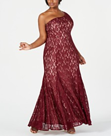 Nightway Plus Size One-Shoulder Glitter Lace Gown