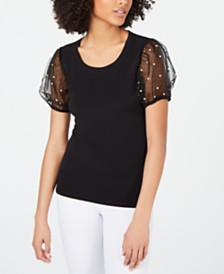 I.N.C. Embellished Mesh-Sleeve T-Shirt, Created for Macy's