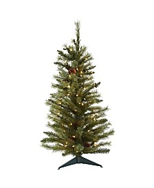 3-Ft. Christmas Tree with Pine Cones and Clear Lights