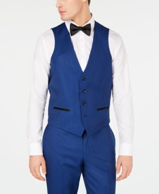 Men's Slim-Fit Stretch Cobalt Blue Tuxedo Suit Vest, Created for Macy's