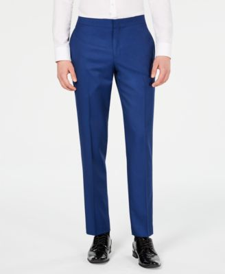 Men's Slim-Fit Stretch Cobalt Blue Tuxedo Suit Pants, Created for Macy's