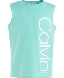 Calvin Klein Performance Big Girls Oversized Logo-Print Cotton Tank Top