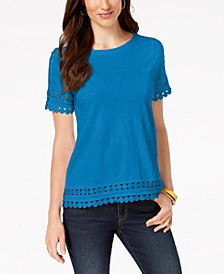 Petite Cotton Crochet-Trim T-Shirt, Created for Macy's
