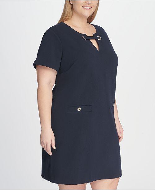 af04a6b43d3 Tommy Hilfiger Plus Size Scuba Crepe Pocket Shift Dress   Reviews ...