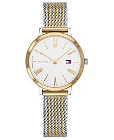 Women's Zendaya Two-Tone Striped Mesh Bracelet Watch 28mm