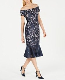 Calvin Klein Off-The-Shoulder Lace Midi Dress