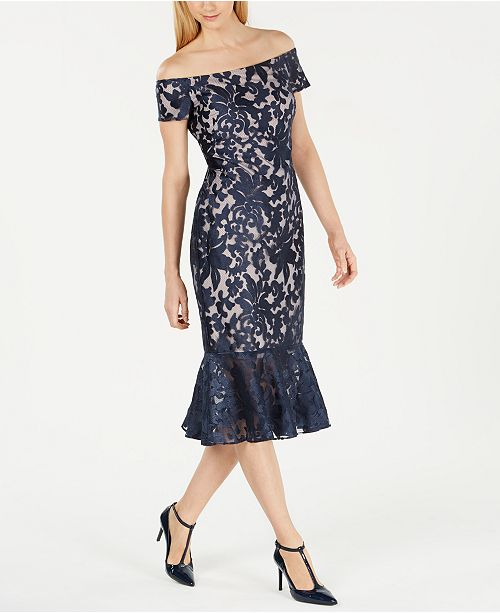 Calvin Klein Off-The-Shoulder Lace Midi Dress