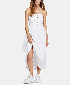 Free People Lilah Cotton Pleated Strapless Midi Dress