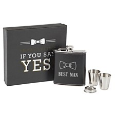Cathy's Concepts Best Man Black Leather Wrapped Flask Set