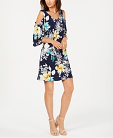 Connected Petite Floral Cold-Shoulder Dress