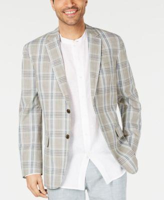 Men's Plaid Linen Sport Coat, Created for Macy's