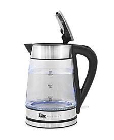 Elite Platinum Cordless 1.7L Glass Kettle, Stainless Steel Accents