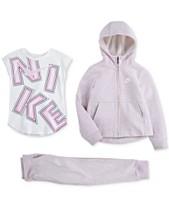 01e0a8c20b Nike Toddler Girls Logo T-Shirt, Zip-Up Hoodie & Jogger Pants Separates