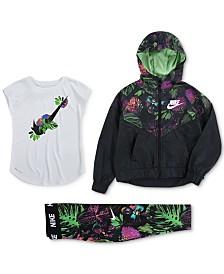 Nike Little Girls Glow Botanical-Print Zip-Up Jacket, T-Shirt & Leggings Separates
