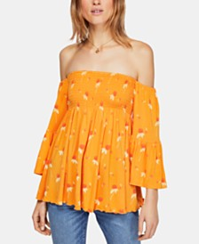 Free People Lana Printed Off-The-Shoulder Top