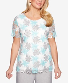 Alfred Dunner Petite Versailles Lace Top