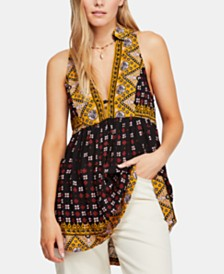 Free People Charlotte Mixed-Print Racerback Fit & Flare Top