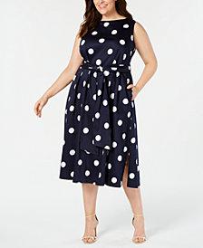 Anne Klein Plus Size Dot-Print A-Line Midi Dress