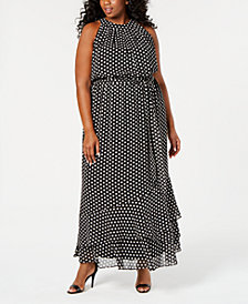 Calvin Klein Plus Size Dot-Print Belted Maxi Dress