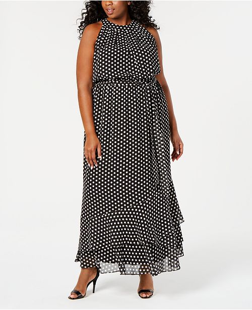 Calvin Klein Plus Size Dot-Print Belted Maxi Dress