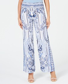 I.N.C. Printed Drawstring Wide-Leg Pants, Created for Macy's