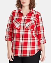 ed973e590ad9a Lauren Ralph Lauren Plus Size Plaid Cotton Shirt