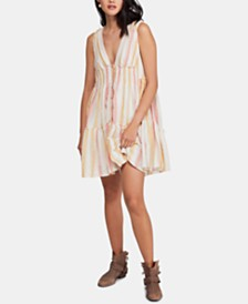 Free People Do It Again Cotton Striped Mini Dress