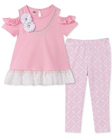 Kids Headquarters Baby Girls 2-Pc. Cold-Shoulder Tunic & Printed Leggings Set