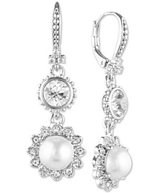 Silver-Tone Crystal & Imitation Pearl Double Drop Large Earrings