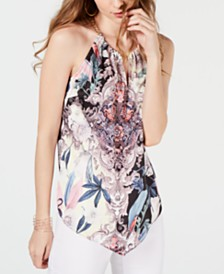 I.N.C. Printed Chain-Neck Halter Top, Created for Macy's