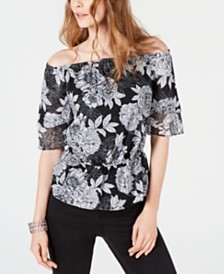 I.N.C. Printed Off-The-Shoulder Top, Created for Macy's