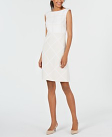Elie Tahari Lacey Tonal Check Sheath Dress