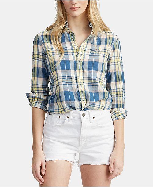 9efb13dcfda0 Polo Ralph Lauren Classic-Fit Madras Cotton Shirt   Reviews - Women ...