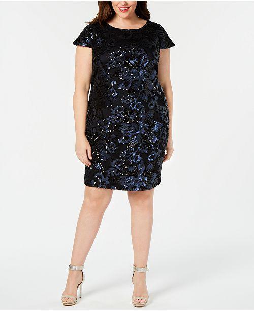 Calvin Klein Plus Size Sequined Sheath Dress