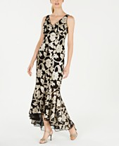 d0aec93ba03 Calvin Klein Floral Sequined High-Low Gown