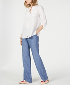 Charter Club Linen Utility Shirt & Linen Drawstring-Waist Pants, Created for Macy's