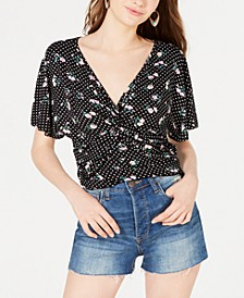 Printed Knot-Front Top