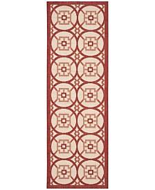 "Safavieh Courtyard Beige and Red 2'3"" x 6'7"" Sisal Weave Runner Area Rug"