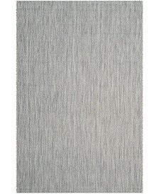 "Safavieh Courtyard Gray and Navy 6'7"" x 6'7"" Square Area Rug"