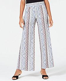 BCX Juniors' Printed Wide-Leg Soft Pants